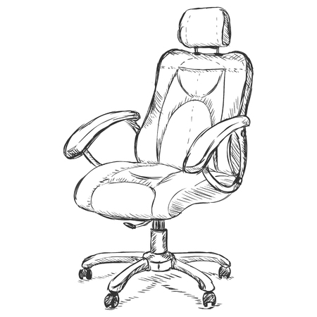 vector sketch illustration - office armchair on White Background Vectores