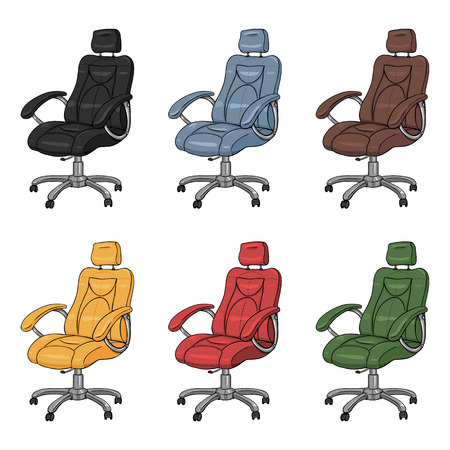 recliner: Vector Set of Cartoon Color Office Armchairs on White Background