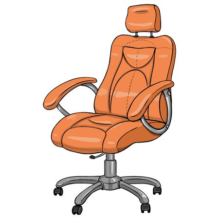 recliner: Vector Single Cartoon Office Armchair on White Background