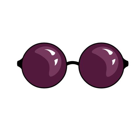 Vector Single Cartoon Sunglasses on White Background