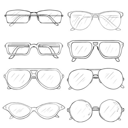eyeglass: Vector Set of Sketch Glasses. Eyeglass Frames. on White Background