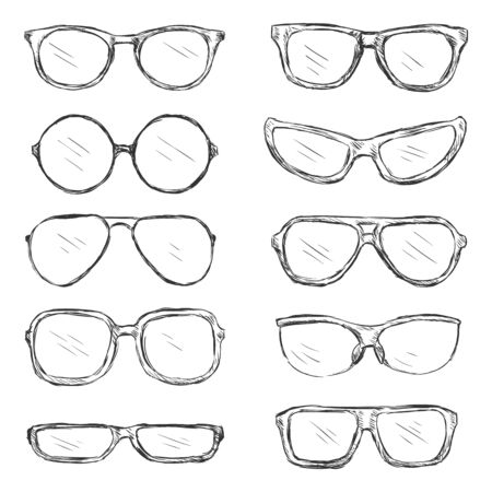 eyeglass: Vector Set of Sketch Eyeglass Frames on White Background