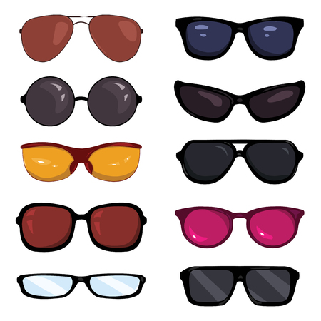 Vector Set of Color Cartoon Glasses on White Background 일러스트