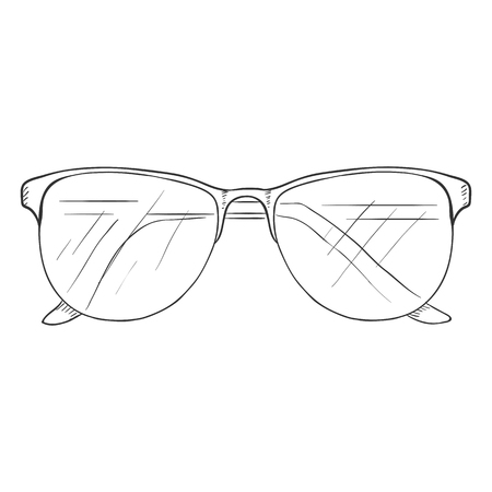 single sketch: Vector Single Sketch Glasses on White Background