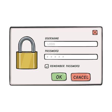 password: Vector Cartoon Password Dialog