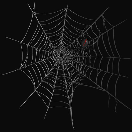 Vector Black Widow Spider on Spiders Web. Black Background Иллюстрация