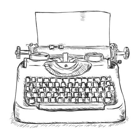 Vector Sketch retrò macchina da scrivere su sfondo bianco