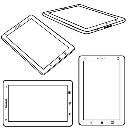 pocket book: Vector Set of Lineart Tablets PC on White Background