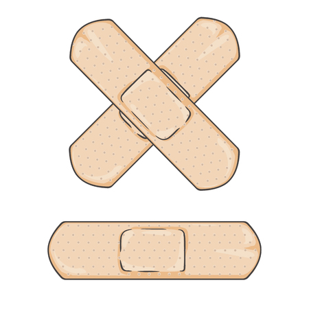 Vector Cartoon Bactericidal Plaster. Single and Cross.