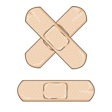 maim: Vector Cartoon Bactericidal Plaster. Single and Cross.
