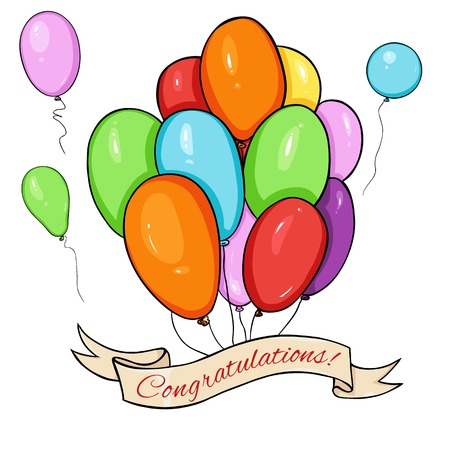 greating card: Vector Greating Card. Color Air Baloons and Ribbon with Text - Congratulations