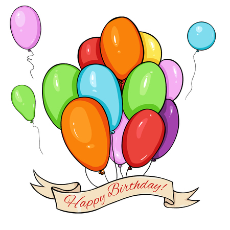 calligraphical: Vector Happy Birthday Greating Card. Color Air Baloons and Ribbon with Text. Illustration