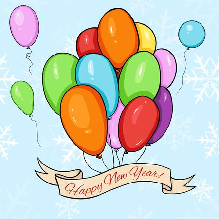 calligraphical: Vector Happy New Year Card. Color Air Baloons and Ribbon with Text.