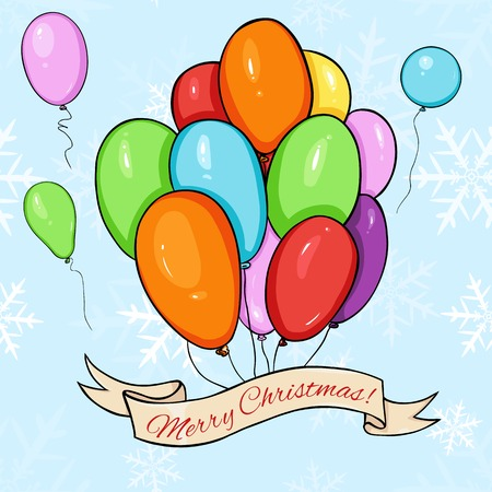 Vector Merry Christmas Greating Card. Color Air Baloons and Ribbon with Text.