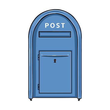 Vector Single Cartoon Blue Street Postbox. Outdoor Mailbox.