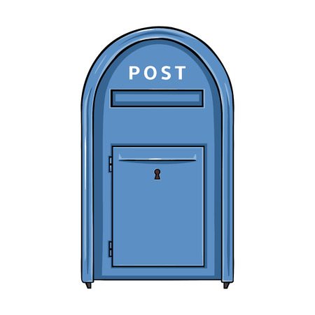 Vector Single Cartoon Blue Street Postbox. Outdoor Mailbox.