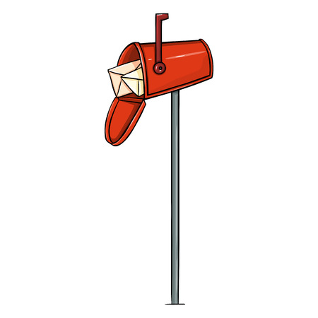 Vector Red Single Cartoon Mailbox on White Background Illustration