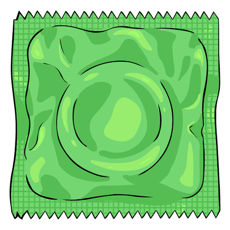 Vector Single Cartoon condoom in groene pakket Stock Illustratie