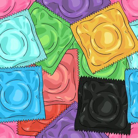 Vector Seamless Pattern Background of Color Condoms Vectores
