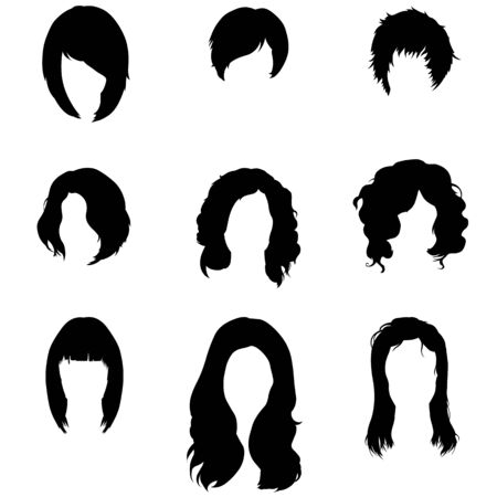 hairdress: Vector Set of Female  Hairdress. Type of Women Hairstyles.