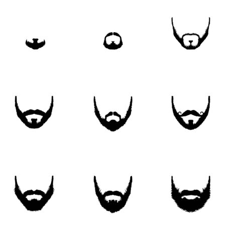 goatee: Vector Set of Beard Silhouettes on White Background