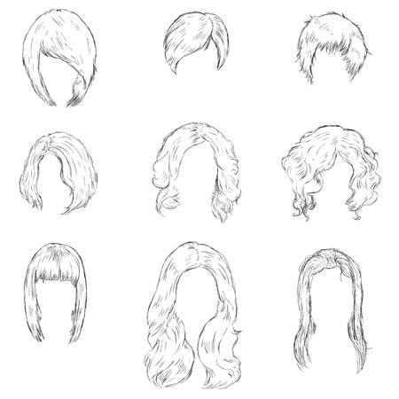 hairdress: Vector Set of Sketch Female Hairdress. Types of Women Hairstyles.