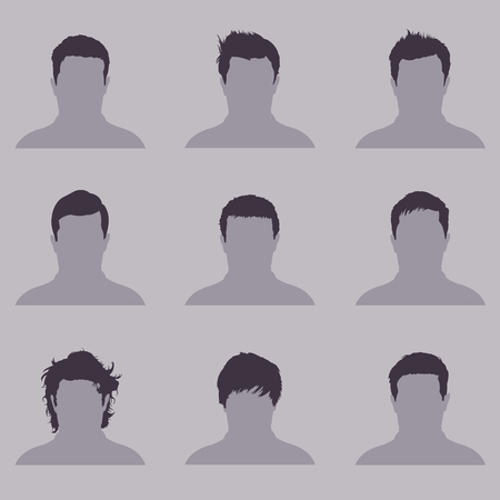 Vector Set of Male  Hairdress. Type of Men Hairstyles.