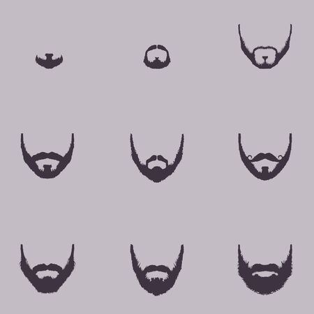 Vector Set of Beard Silhouettes on White Background