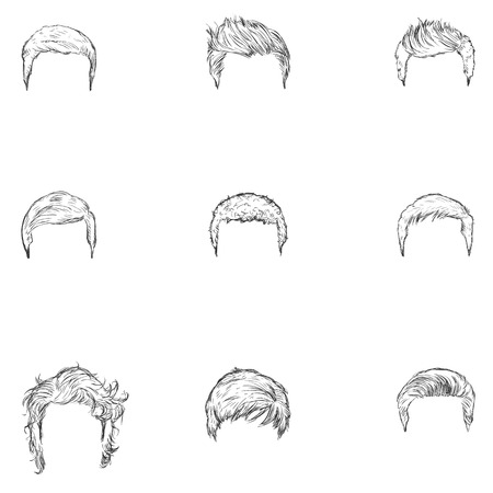 hairdress: Vector Set of Sketch Mens Hairstyles on White Background Illustration