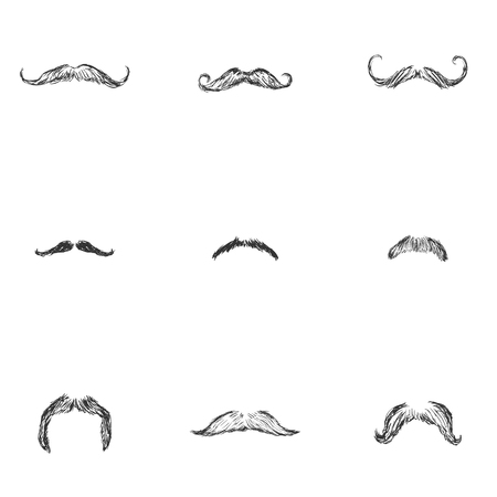 mustaches: Vector Set of Sketch Mustaches. Types of Mustaches. Illustration