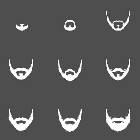 style goatee: Vector Set of Beard Silhouettes on Dark Background Illustration