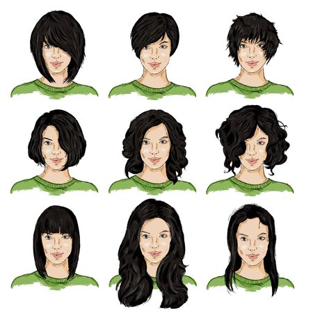 hairdress: Vector Set of Color Sketch Different Women Hairstyles