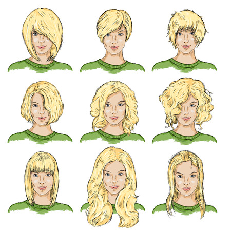 blonde curly hair: Vector Set of Color Sketch Different Women Hairstyles