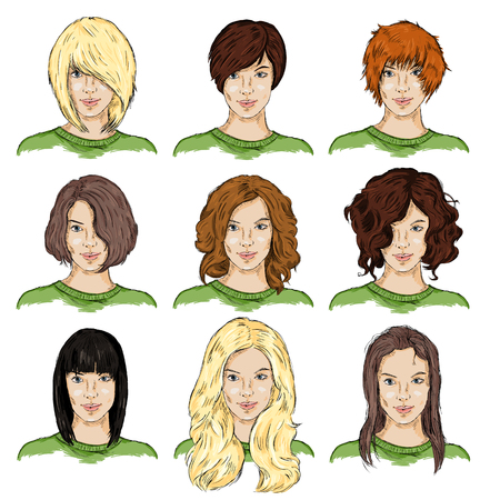 light brown hair: Vector Set of Color Sketch Different Women Hairstyles