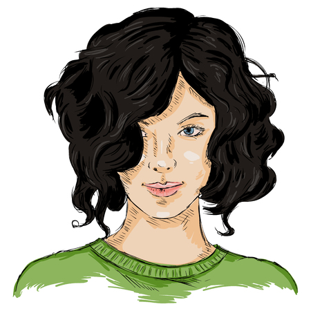 hairdress: Vector Single Sketch Female Face. Women Hairstyle.