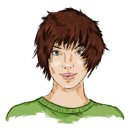 Vector Single Sketch Female Face. Women Hairstyle.