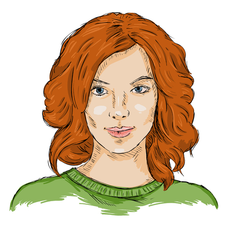 single sketch: Vector Single Sketch Female Face. Women Hairstyle.