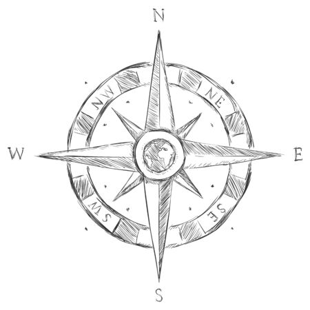 wind rose: Vector Isolated Sketch Wind Rose on White Background Illustration