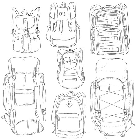 millitary: Vector Set of Sketch Doodle Backpacks. Casual Backpack, Fashion Backpack, Hiking Backpack, Sport Backpack, Tactical Backpack.