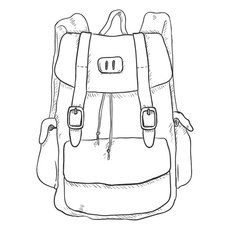 single sketch: Vector Single Sketch Casual Backpack. Isolated Background.
