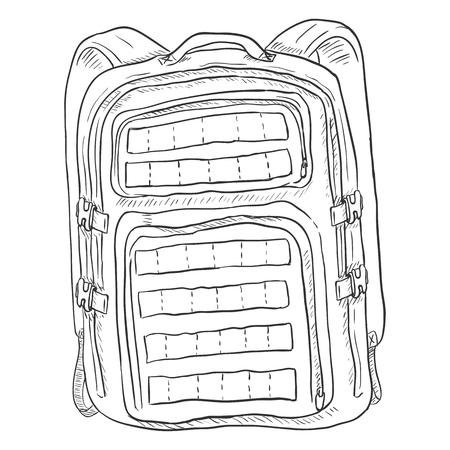 tactical: Vector Single Sketch Tactical Backpack. Isolated Background.