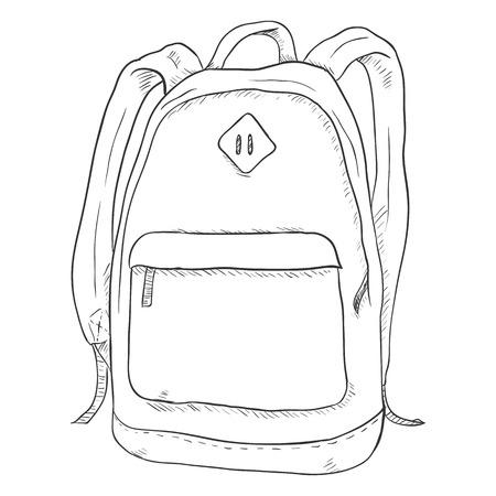 Vektor Einzelne Skizze zufällige Rucksack. Hintergrund Isoliert.