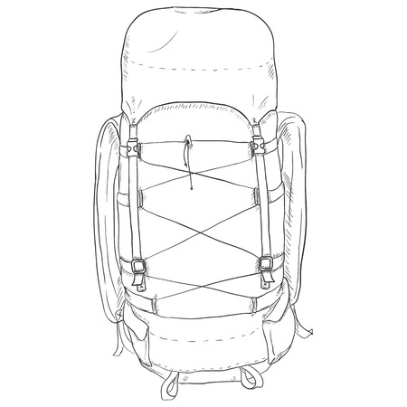 Vector Single Sketch Hiking Backpack. Isolated Background.
