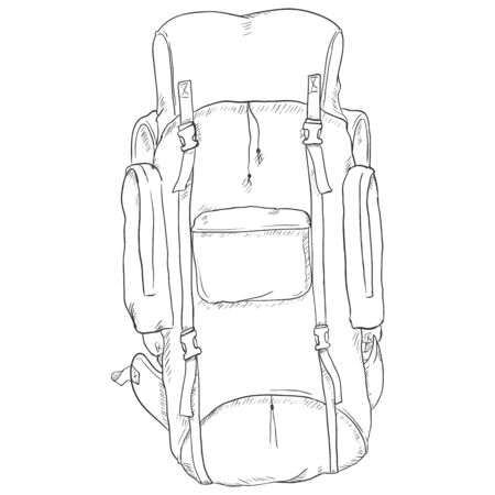 millitary: Vector Single Sketch Hiking Backpack. Isolated Background.