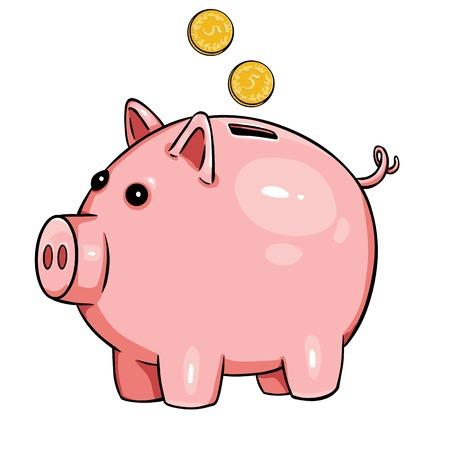 vector cartoon piggy bank on White Background