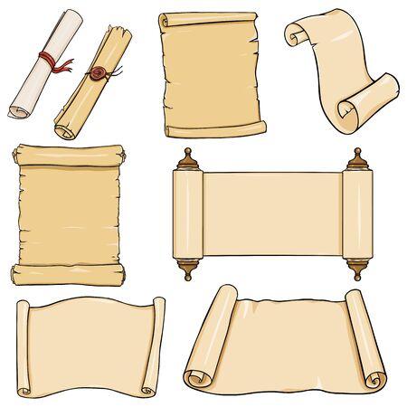 vellum: Vectror Set of Scrolls on White Background