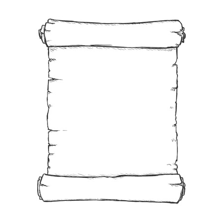 single sketch: Vector Single Sketch Scroll on White Background Illustration