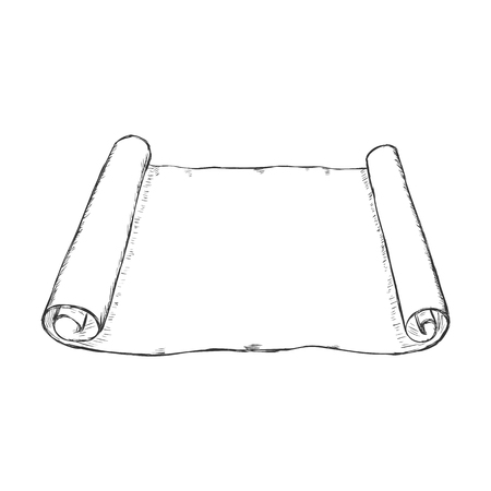 Vector Single Sketch Scroll on White Background Illustration