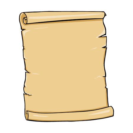 Vector Single Cartoon Scroll on White Background