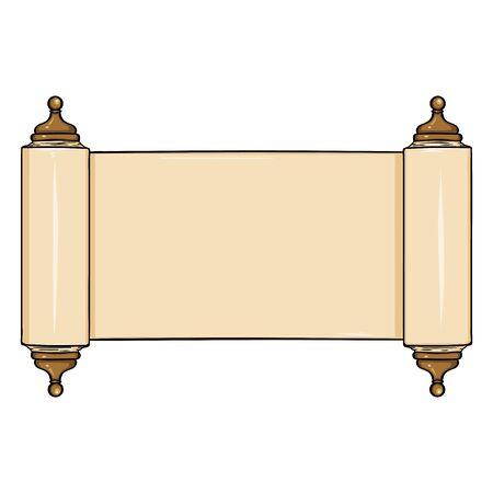 vellum: Vector Single Cartoon Scroll on White Background